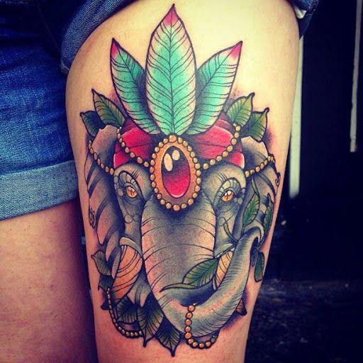 Tattoo couleur éléphant cirque