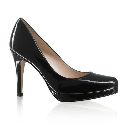 Russell And Bromley Black Patent Court Shoe