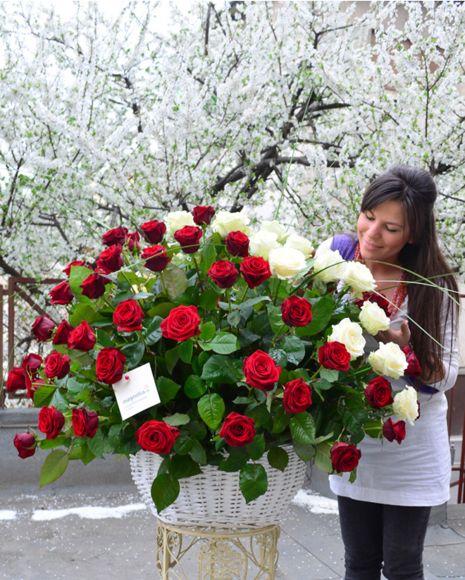 Aranjament grandios cu trandafiri rosii si albi