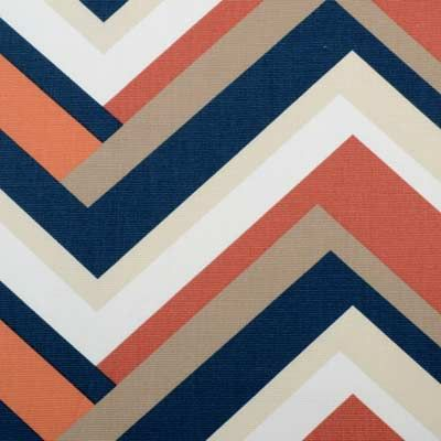 Beau Monde Print Collection | Duralee Fabric by Duralee #navy #melon #chevron #fabric #cotton