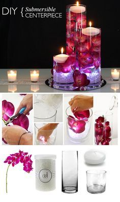 Light up your wedding with glowing submersible centerpieces. Submerge flowers in water and add a floating candle and submersible light for a romantic DIY centerpiece. Find cheap flowers and vases at Afloral.com.