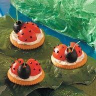 preschool snacks - Lady Bugs on Ritz