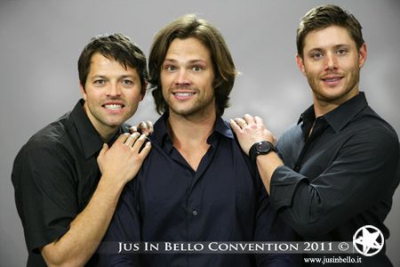 Misha, Jared, and Jensen. Love the awkward high school girl photo pose! #supernatural