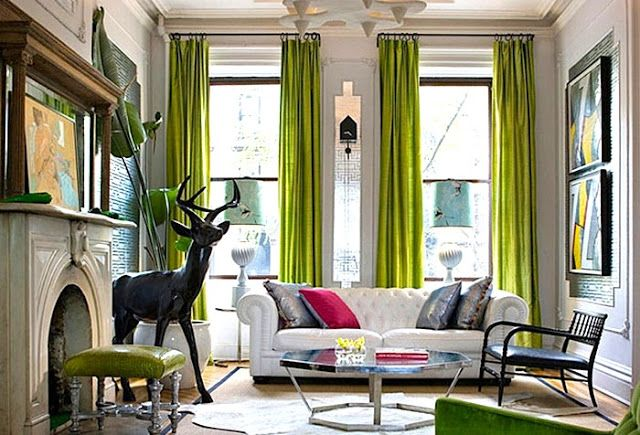 love the green curtains with white walls