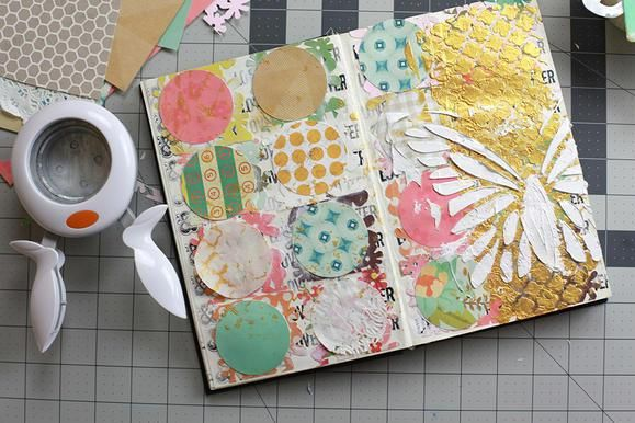 Layers on layers or layers. That's the trick to a fantastic mixed media piece. www2.fiskars.com