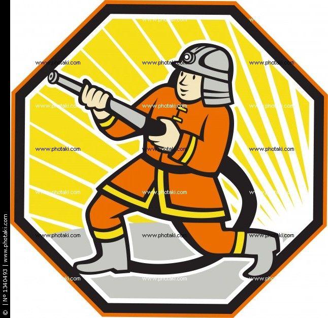 Bombero de dibujos animados combatiendo el fuego  Carro de