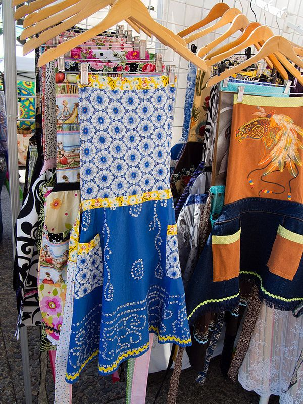 T-shirts, shirts and skirts upcycled into aprons by Anna Lawrence, Anna's Haute Aprons