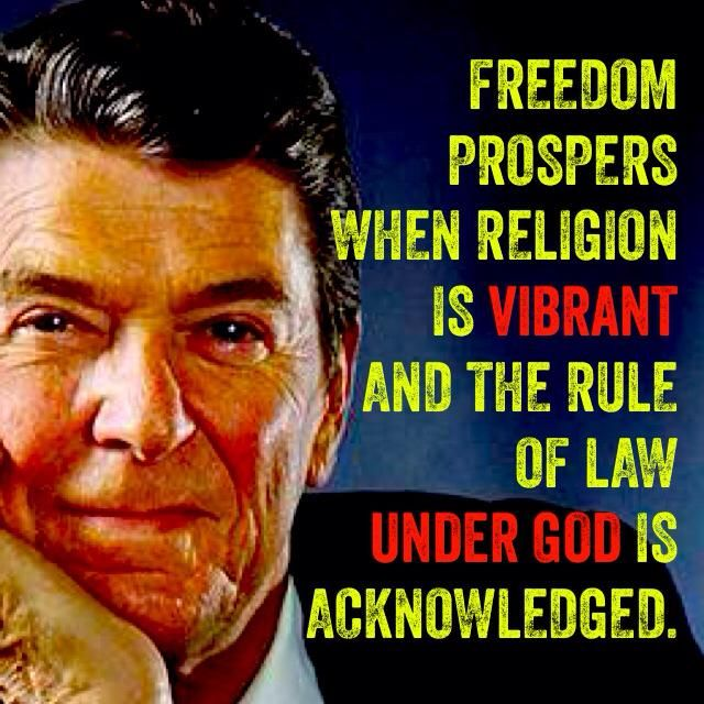 Ronald Reagan, a horrible man and president. Yes, let's form a theocracy; that would be patriotic.