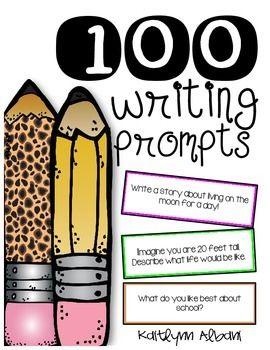 "Over+100+Writing+Prompts! Writing+checklist+bookmarks+for+students+to+use+as+your+students+write. Includes+cut+out+prompts+that+you+can+laminate+and+throw+into+a+jar+for+students+to+pick+from+when+they+are+having+""student+writers+block"" You+can+also+pass+them+out+to+students+for+writing+topics."