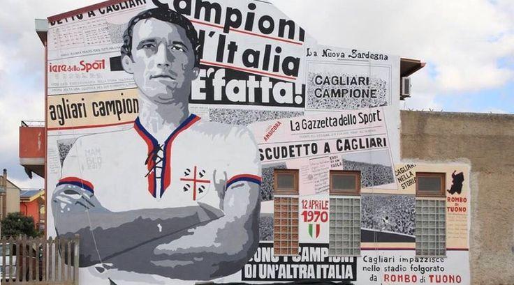Cagliari, un maxi murale per Gigi Riva