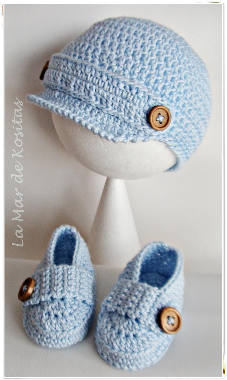 Conjunto gorro y zapatos mocasines en crochet ganchillo para niños de 0 a 9  meses Este