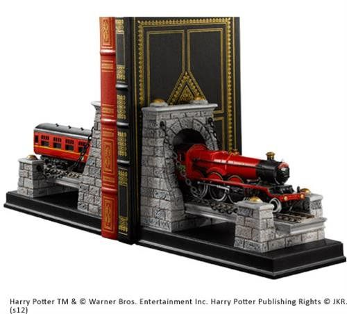 2 x Hand Painted Hogwarts Express Bookends each measures approx. 7.5 inches/ 19cm long x 5.5 inches/ 14cm high. Carriages and engine entering and exiting a tunnel.  Designed and manufactured to the highest standard by The Noble Collection. 100% official Warner Bros. licensed Harry Potter merchandise.