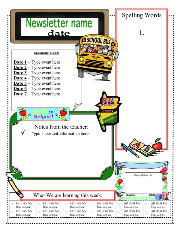 19 best Newsletter Templates images on Pinterest Classroom setup - school newsletter templates