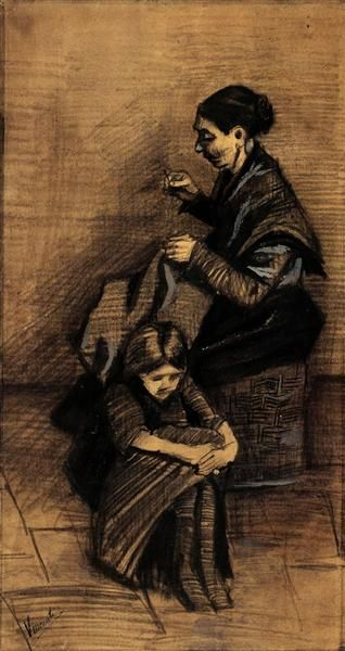 Woman Sewing, with a Girl, 1883 by Vincent van Gogh. Realism. genre painting. Van Gogh Museum, Amsterdam, Netherlands