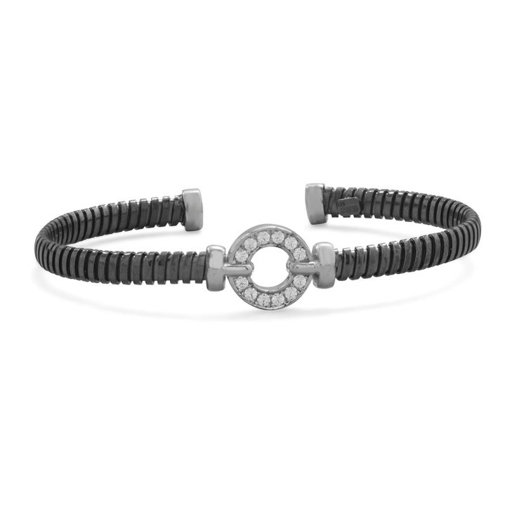 CZ and Black Rhodium Cuff Bracelet  CZ and Black Rhodium Plated Cuff Bracelet  Black rhodium plated sterling silver cuff bracelet with cut out CZ circle. The grooved cuff is 4.5mm. The CZ circle is 11mm.  Made in Italy.925  Sterling Silver