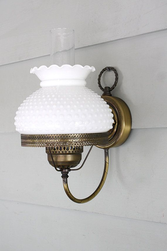 Vintage Solid Brass Hurricane Wall Sconce By