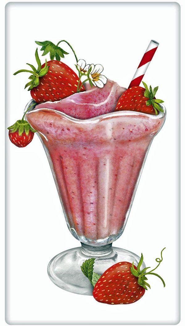 Strawberry Smoothie 100% Cotton Flour Sack Dish Towel Tea Towel