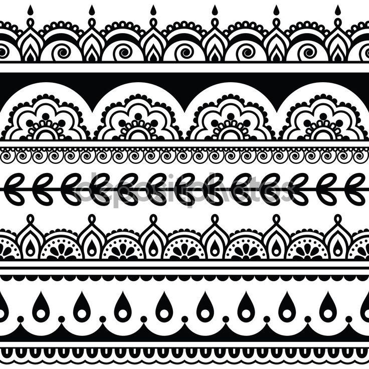 Herunterladen - Indische nahtlose Muster, Design-Elemente - Mehndi Tattoo-Stil — Stockillustration #84994000