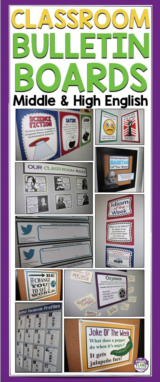 Classroom Bulletin Board Ideas For Middle & High School English by Presto Plans