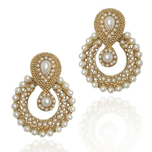 Dancing Girl Women's Faux Pearl Traditional Ethnic Indian Earring White B332 *** You can get additional details at the image link.