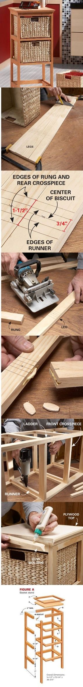 The secret to this handsome, durable basket stand is a biscuit joiner, which creates super-tough joints without metal fasteners or exposed wood dowels. Learn how to build this amazingly versatile storage stand at http://www.familyhandyman.com/DIY-Projects/Woodworking/Woodworking-Projects/how-to-build-a-basket-stand: