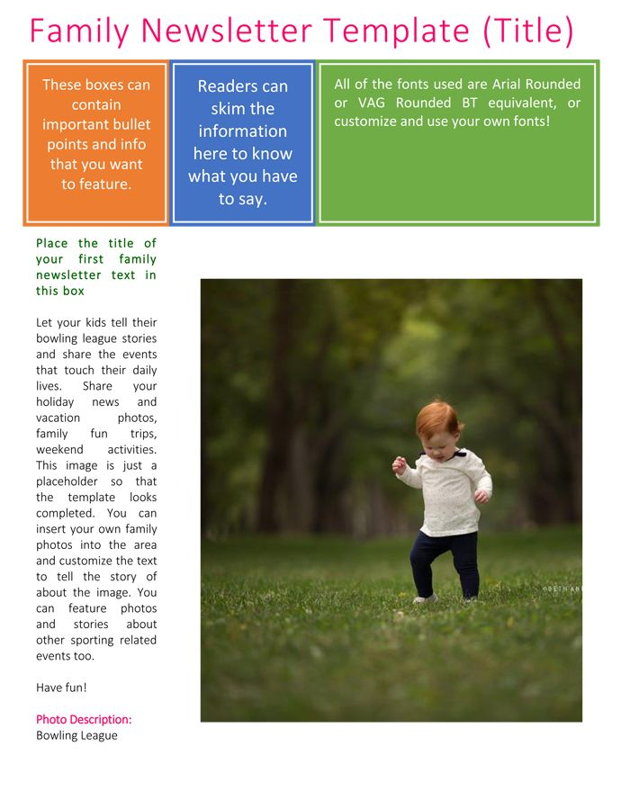 Use a free Family Newsletter Template created in Microsoft® Word - holiday newsletter template