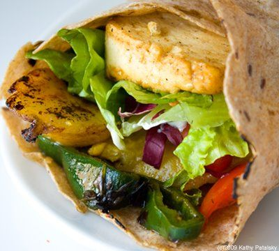 Plantain Poblano Tofu Wrap (Vegan):  This Plantain Poblano Tofu Wrap is amazing! Stove top roasted poblano peppers, simple citrus sauteed tofu and sweet plantains all folded into a whole grain tortilla. Vegan Mexican at its best! Light enough for lunch, substantial enough for dinner. Four easy steps.