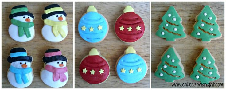 I made these little cookies with some Christmas cutters I have – the kind that have a spring and leave an impression, which are great for doing sugar paste decorations. They cookies are small…