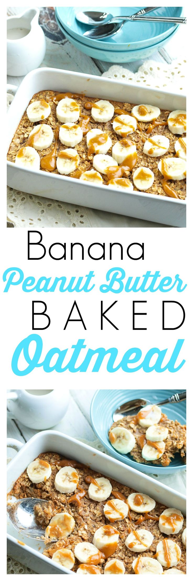 Banana Peanut Butter Baked Oatmeal Recipe.  This is a healthy breakfast recipe that is perfect for chilly mornings! Low sugar, gluten-free, and dairy-free.