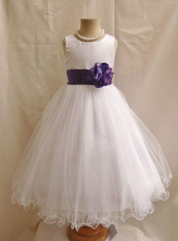 Flower Girl Dress WHITE/Purple Eggplant FL Wedding Children Easter Bridesmaid Communion Peach Orange Lilac Pink Light Green Kelly Black