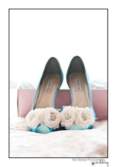 Blue wedding shoes. Photo by Kari Renee Photography