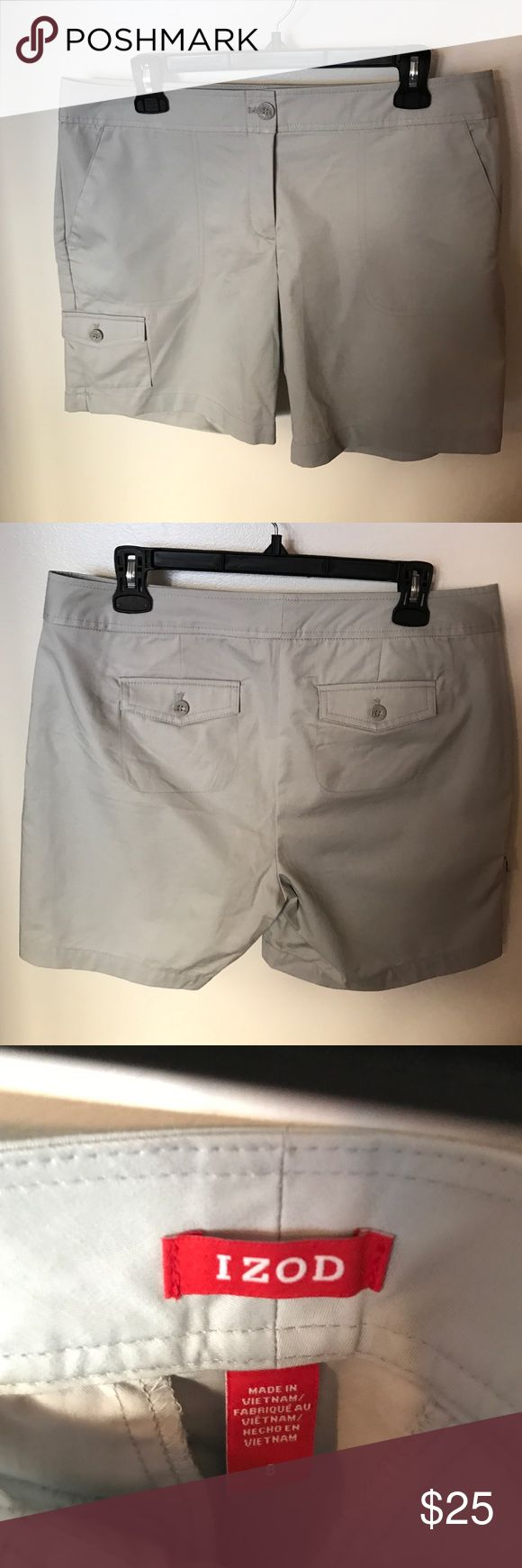 Women's grey shorts. Izod, size 8-Used Women's izod shorts, size 8. Only worn once. 100% cotton. Machine wash cold. Izod Shorts