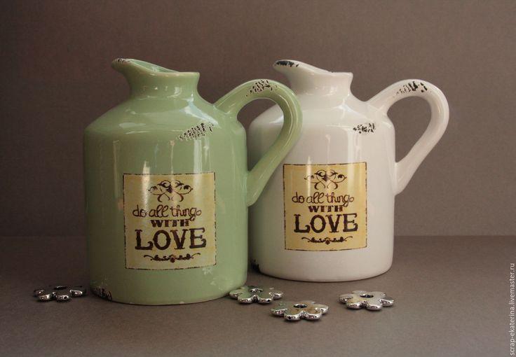 Купить Кувшин керамический - Керамика, керамическая ваза, бутылка, для фотосессий, фотосессия, зеленый, ретро, рустик