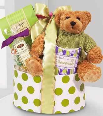 Who could resist this Get Well Bear Gift Basket? Complete with a medium bear and assorted treats.