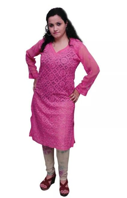 Pink Georgette Kurta with Heavy Chikankari
