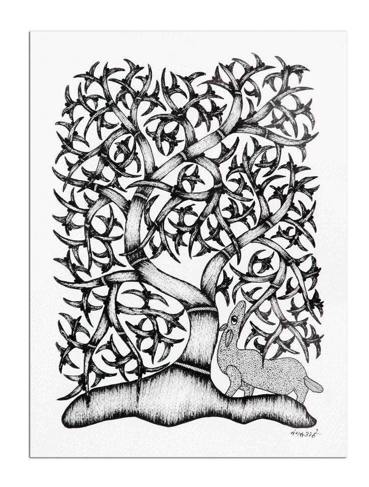 Gondh Tribal ArtTree & Deer 201 in the MoonRiverStore
