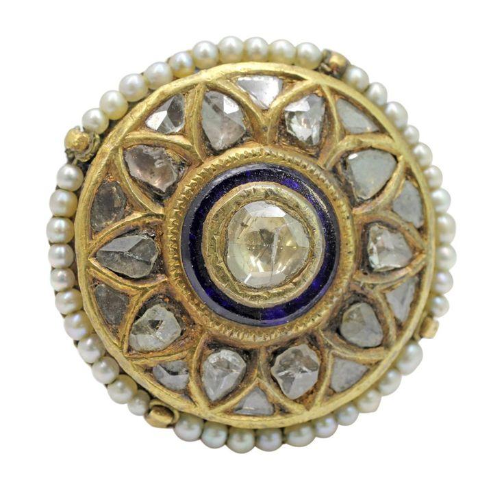 2 Old Mine Diamond Pearl Enamel Indian Ring