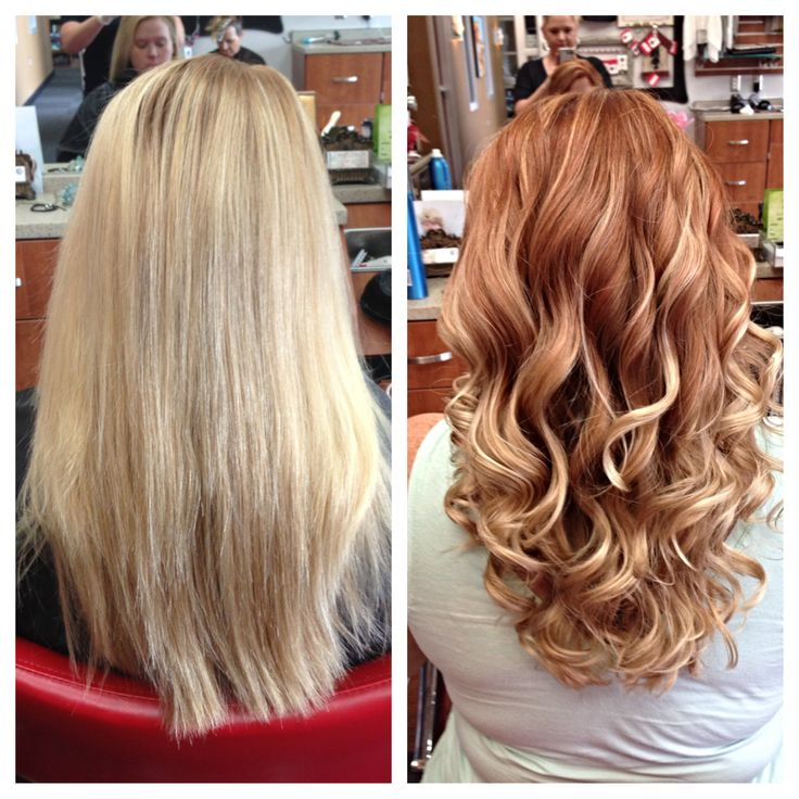 Before and after blonde to red head with a side of ombré! Styleseat.com/caylapoindexter @salonaffinity
