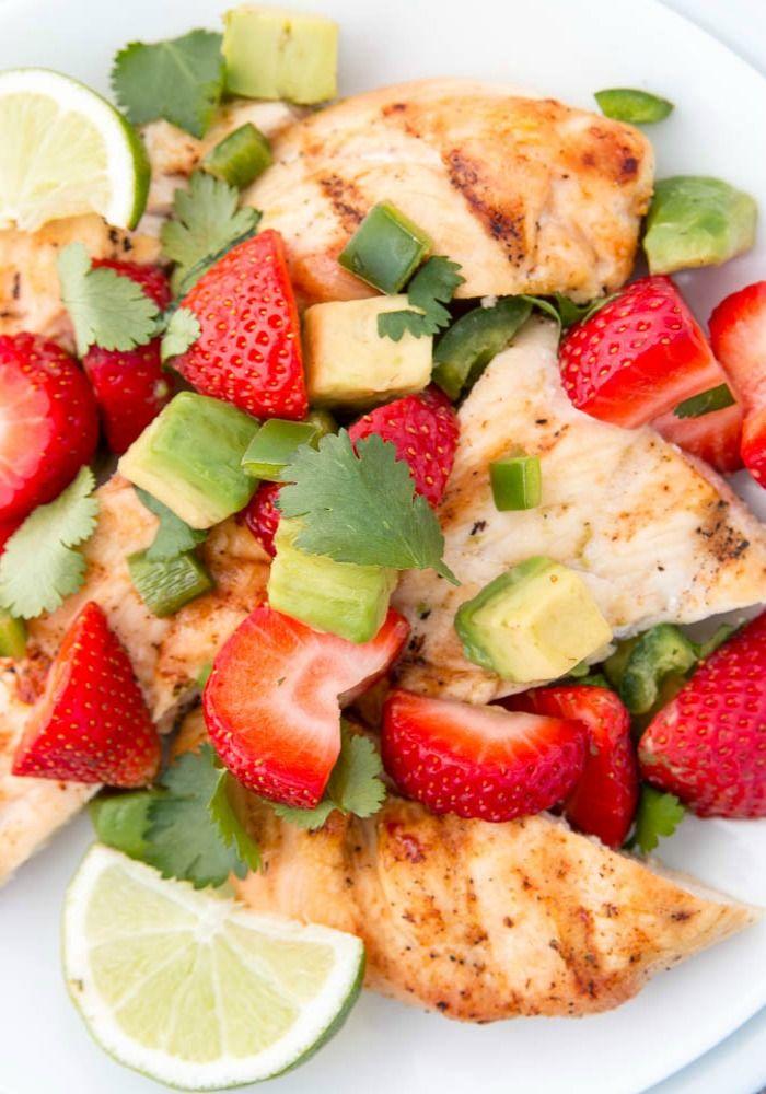 Chicken-Strawberries w/ avocado salsa