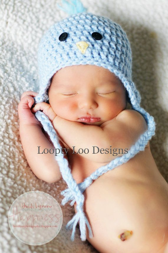 Baby Boy Crochet Blue Bird Earflap Hat  Photo by looptyloodesigns, $20.00