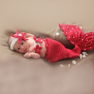 美人鱼造型套装儿童摄影服装影楼服饰宝宝百天照衣服婴幼儿速卖通