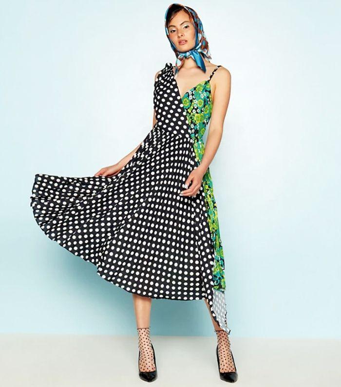 44bf37f66 Debenhams x Richard Quinn Green Floral Dot Spliced 'Sunray' Asymmetric Midi  Dress