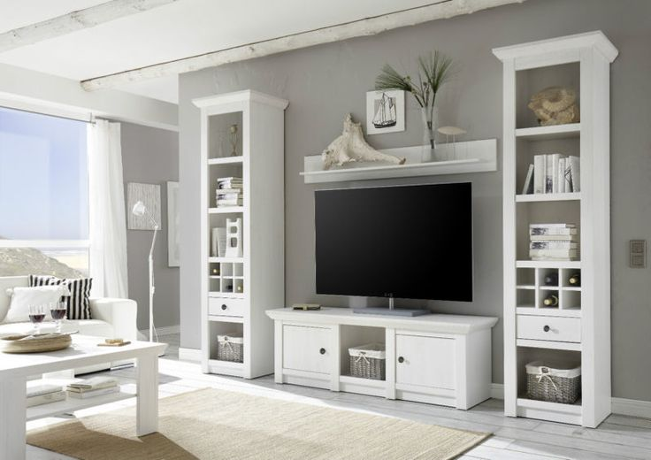 wohnwand westerland i anbauwand wohnkombination landhausstil pinie wei wohnzimmer. Black Bedroom Furniture Sets. Home Design Ideas