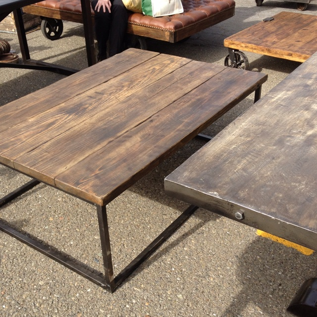 Reclaimed wood table at alameda antique fair very nice for Coffee tables industrial