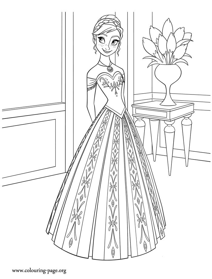Come check out this another Disney Frozen movie coloring page. Here is the beautiful princess of the Kingdom of Arendelle -  Anna. Just print it!