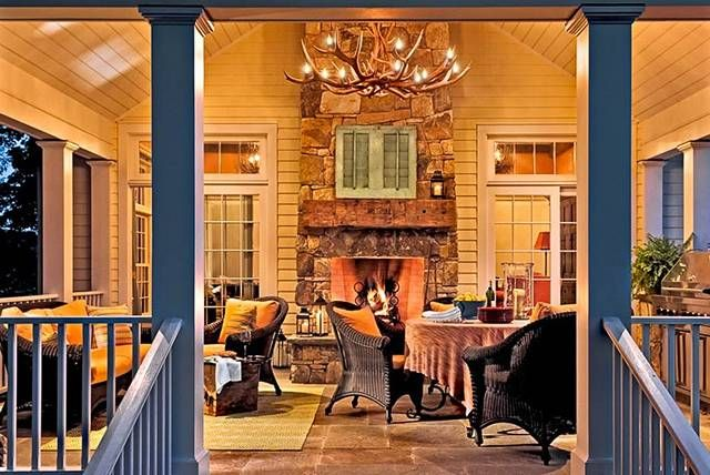 """end of the house"" porch: Ideas, Outdoor Rooms, Antlers, Outdoor Living Spaces, Back Porches, Traditional Porches, Covers Porches, Outdoor Fireplaces, Outdoor Spaces"