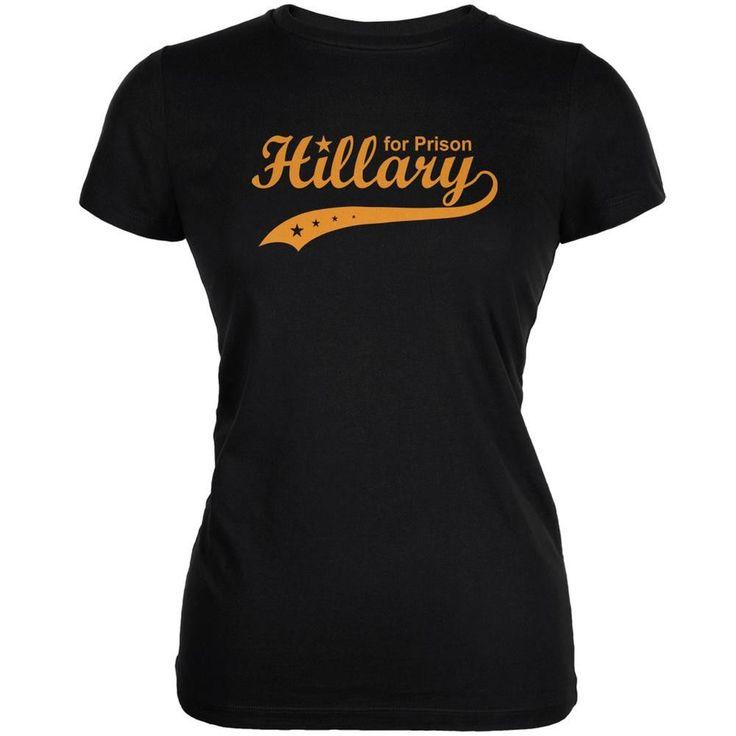 Election 2016 Hillary Clinton for Prison Black Juniors Soft T-Shirt