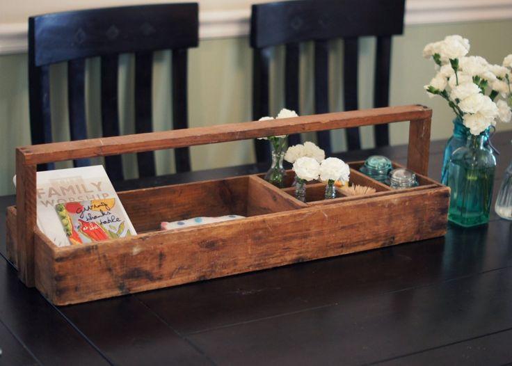 antique rustic tool box as a dining table caddy {www.awakainoz.com}