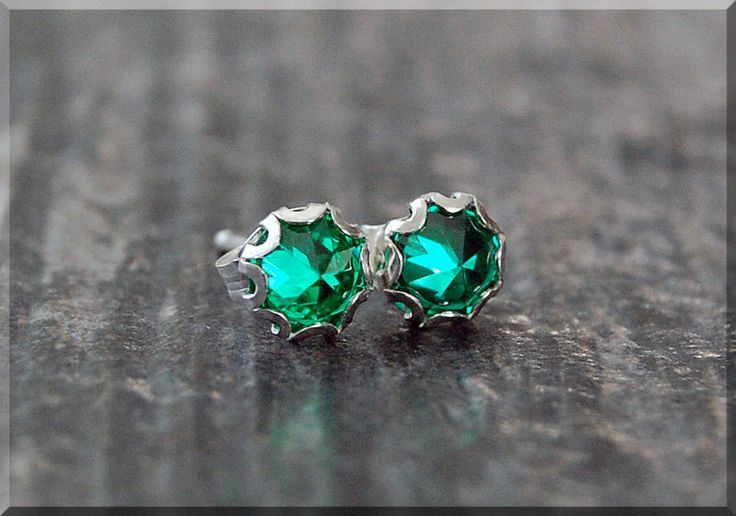 Emerald Earrings. Sterling Silver May Emerald Post Earrings, May Birthstone Earrings, Handmade Emerald earrings, Emerald Stud earrings by thewrappedpixie on Etsy https://www.etsy.com/listing/262187083/emerald-earrings-sterling-silver-may