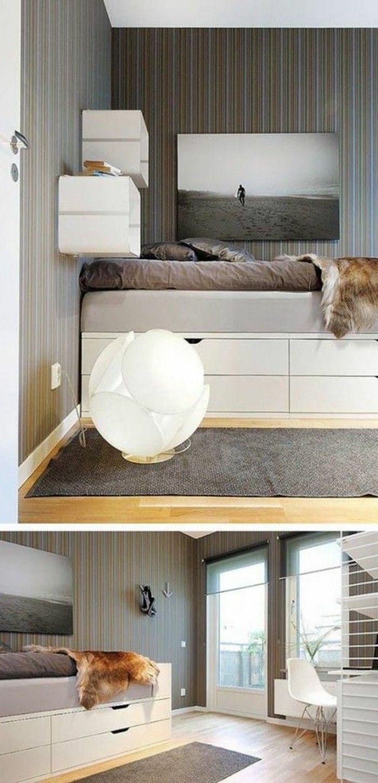 comment organiser bien l'espace chez vous, lit tiroir pas cher en bois